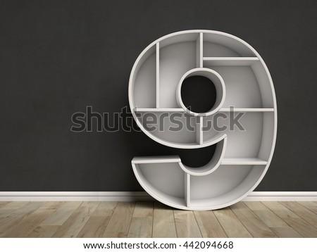 Number 9 shaped shelves 3d rendering - stock photo