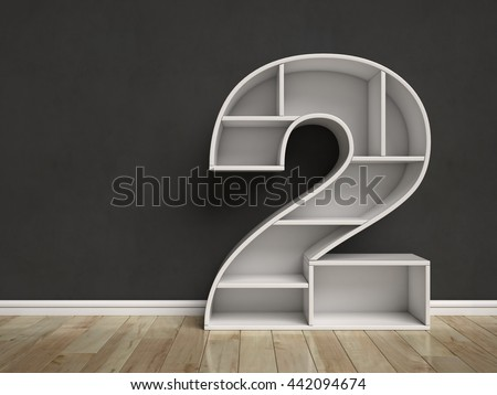 Number 2 shaped shelves 3d rendering