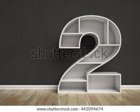 Number 2 shaped shelves 3d rendering - stock photo