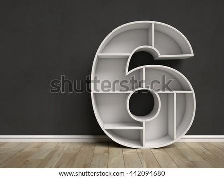 Number 6 shaped shelves 3d rendering - stock photo