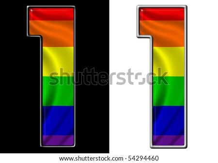number 1 showing rainbow flag