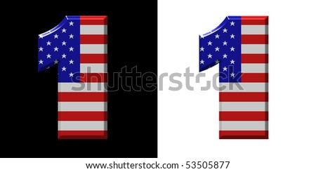 Number 1 showing USA flag