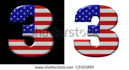 Number 3 showing USA flag - stock photo