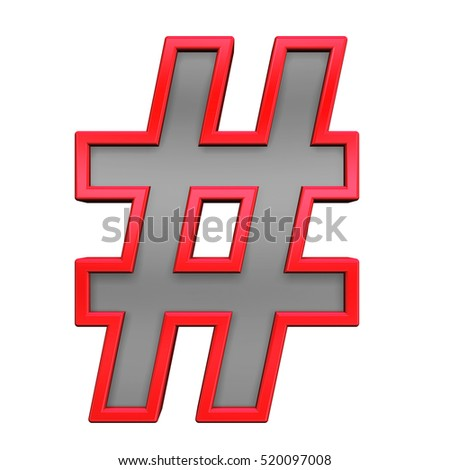Number sign from gray with red frame alphabet set, isolated on white. 3D illustration.