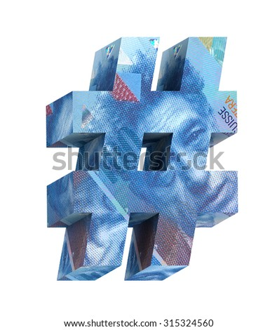 Number sign from swiss franc bill alphabet set isolated over white. Computer generated 3D photo rendering. - stock photo