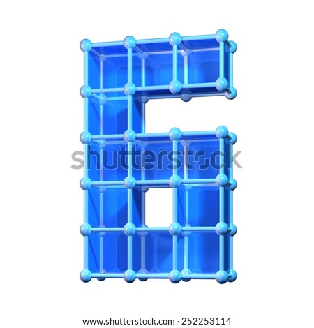 Number six, 6. 3D molecular structure. Numerals isolated on white background. - stock photo