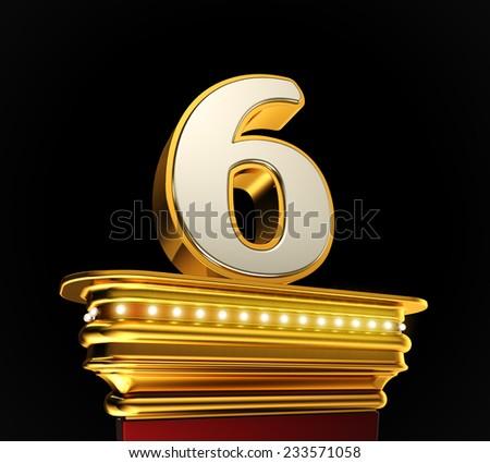 Number Six on a golden platform with brilliant lights over black background - stock photo