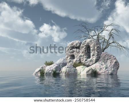 number sixty rock at water - 3d illustration - stock photo