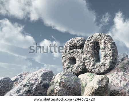 number sixty rock under cloudy blue sky - 3d illustration - stock photo