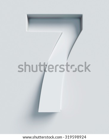 Number 7  slanted 3d font engraved and extruded from the surface - stock photo
