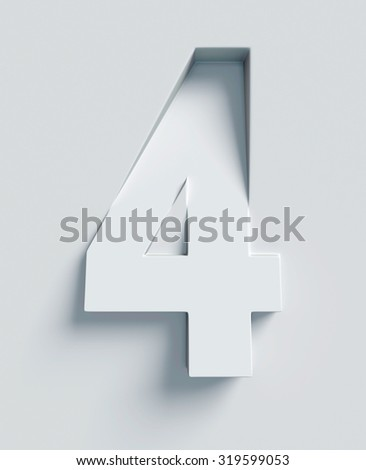 Number 4 slanted 3d font engraved and extruded from the surface