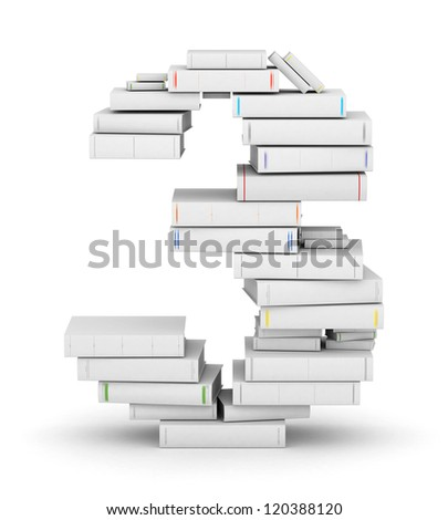 Number 3, stacked from many blank title books in column - stock photo