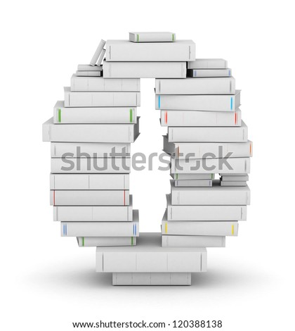 Number 0, stacked from many blank title books in column - stock photo