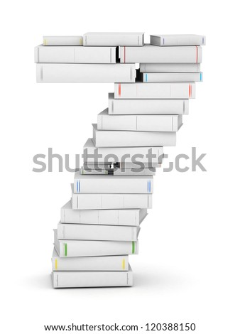 Number 7, stacked from many blank title books in column - stock photo