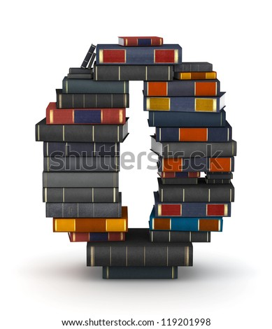 Number 0, stacked from many encyclopedia books in pile - stock photo