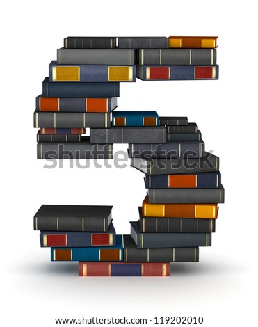 Number 5, stacked from many encyclopedia books in pile - stock photo