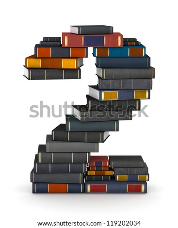Number 2, stacked from many encyclopedia books in pile - stock photo