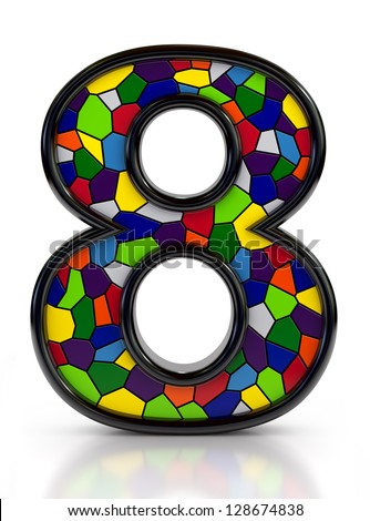 Number 8 symbol with multicolored mosaic tiles, isolated on white background. - stock photo
