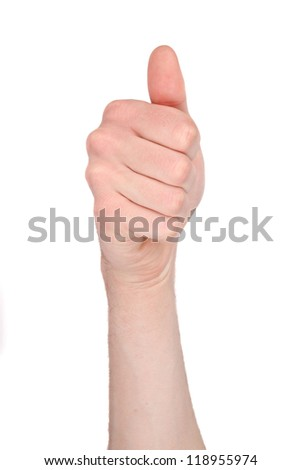 Number ten in sign language - stock photo