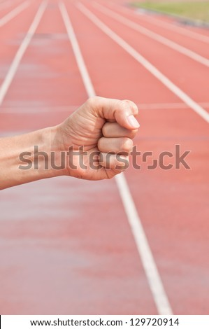 Number Ten on Running Track Arena - stock photo