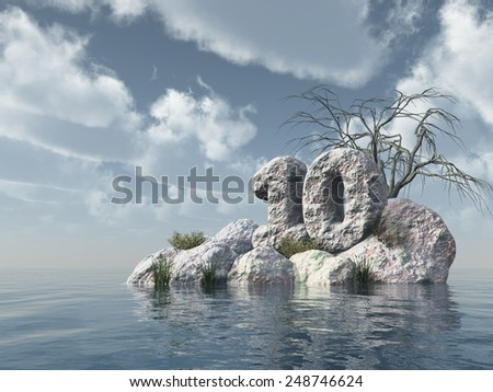 number ten rock at water - 3d illustration - stock photo