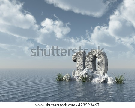 number ten rock at water - 3d illustration