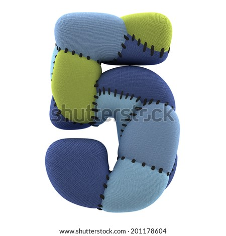 Number 5. Textile toy font  isolated on White Background. - stock photo