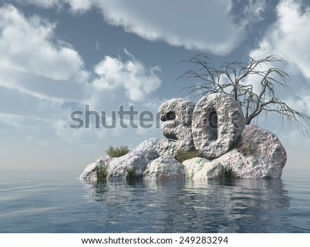 number thirty rock at water - 3d illustration - stock photo