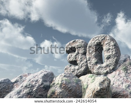 number thirty rock under cloudy blue sky - 3d illustration - stock photo