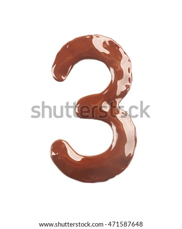 Number three made of liquid chocolate, isolated on white