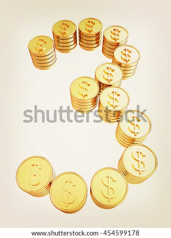 """Number """"three"""" of gold coins with dollar sign isolated on white background. 3D illustration. Vintage style. - stock photo"""