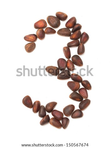 number three of the pine nuts on a white background