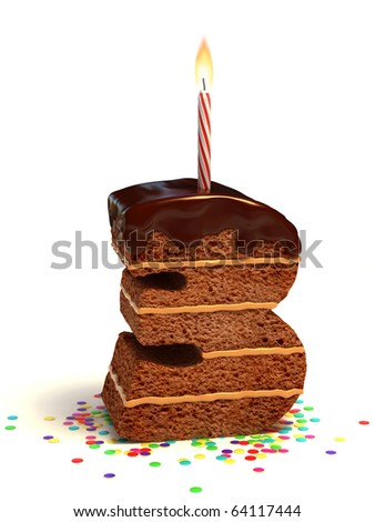number three shaped chocolate birthday cake with lit candle and confetti