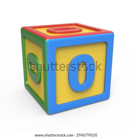 Number toy block - number 0 - stock photo
