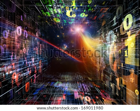 Number Tunnel series. Abstract design made of colorful numbers and light waves in perspective on the subject of computers, mathematics, science and education - stock photo