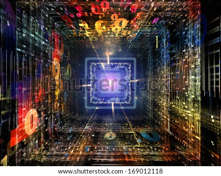 Number Tunnel series. Background design of CPU chip, colorful numbers and fractal elements in perspective on the subject of computers, mathematics, science and education - stock photo