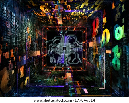 Number Tunnel series. Composition of CPU chip, colorful numbers and fractal elements in perspective with metaphorical relationship to computers, mathematics, science and education
