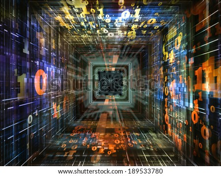 Number Tunnel series. Creative arrangement of CPU chip, colorful numbers and fractal elements in perspective as a concept metaphor on subject of computers, mathematics, science and education - stock photo
