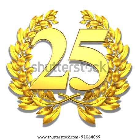 Number twenty-five Golden laurel wreath with the number twenty-five inside - stock photo