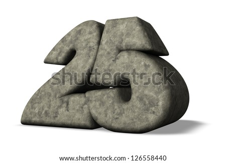 number twenty five on white background - 3d illustration - stock photo