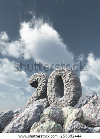 number twenty rock under cloudy blue sky - 3d illustration - stock photo