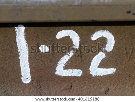 Number twenty two typed on the metal plate - stock photo