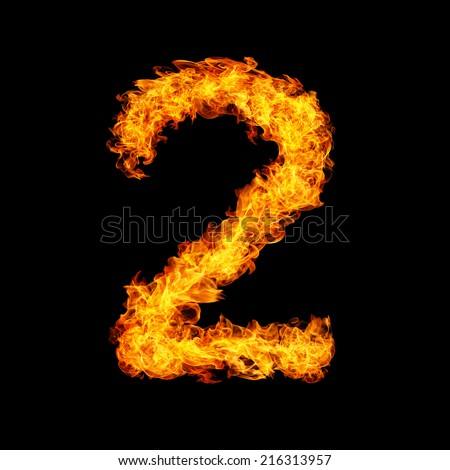 Number Two made from fire flame