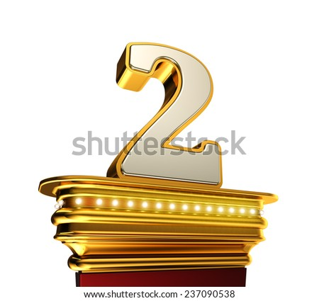 Number Two on a golden platform with brilliant lights over white background - stock photo