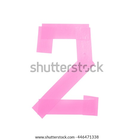 Number two symbol made of insulating tape isolated over the white background - stock photo