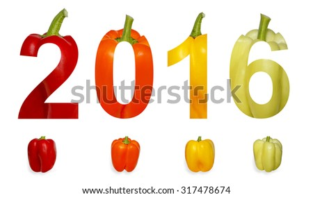 Number 2016 (Two thousand sixteen New year) executed of colored paprika isolated on a white background - stock photo