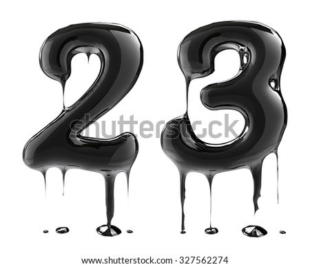 Number 2 two 3 three. Oil alphabet isolated over white. Black liquid splash alphabet. - stock photo