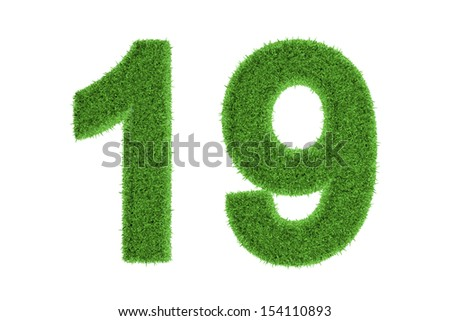 Number 19 with a fresh green grass texture and a three dimensional effect conceptual of an eco-friendly font and conserving nature, isolated on white