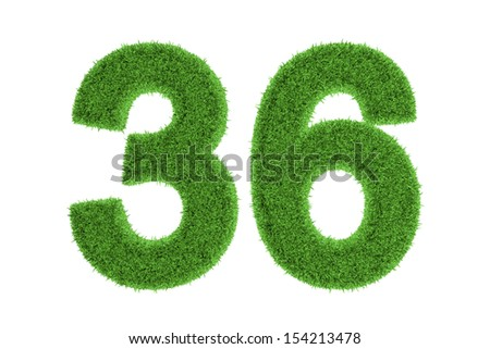 Number 36 with a fresh green grass texture and a three dimensional effect conceptual of an eco-friendly font and conserving nature, isolated on white