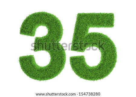 Number 35 with a fresh green grass texture and a three dimensional effect conceptual of an eco-friendly font and conserving nature, isolated on white